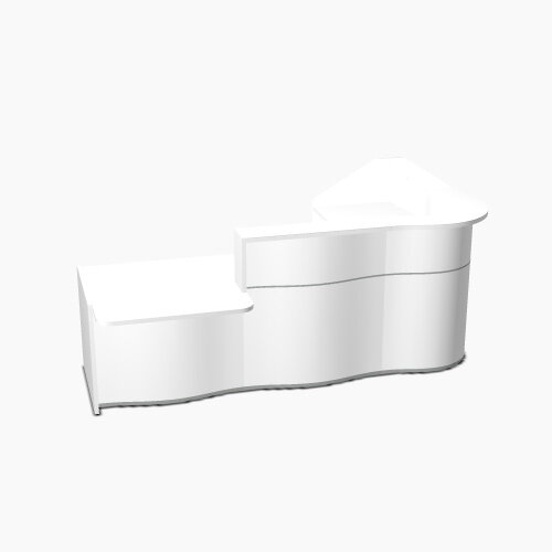 Wave Modern Design Curved Reception Desk White Counter Top with Left Low Level Section &High Gloss White Front W2780xD1825xH1103mm