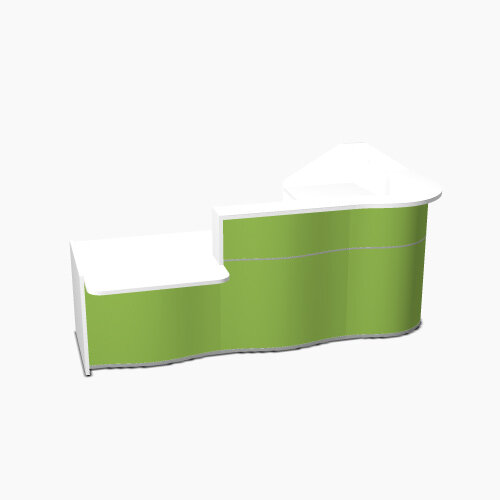 Wave Modern Design Curved Reception Desk White Counter Top with Left Low Level Section &High Gloss Dark Green Front W2780xD1825xH1103mm