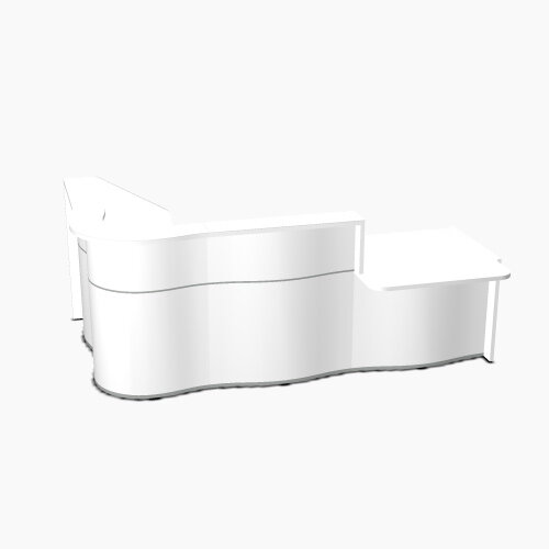 Wave Modern Design Curved Reception Desk White Counter Top with Right Low Level Section &High Gloss White Front W2780xD1807xH1103mm