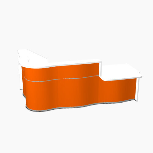 Wave Modern Design Curved Reception Desk White Counter Top with Right Low Level Section &High Gloss Orange Front W2780xD1807xH1103mm