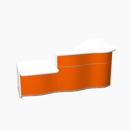 Wave Modern Design Curved Reception Desk White Counter Top with Left Low Level Section &High Gloss Orange Front W2780xD1807xH1103mm
