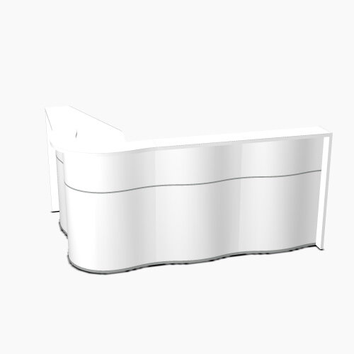 Wave Modern Design  L-Shaped Reception Desk with White Counter Top &High Gloss White Front W2340xD1590xH1103mm