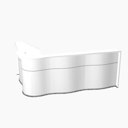 Wave Modern Design L-Shaped Reception Desk with White Counter Top &High Gloss White Front W2780xD1810xH1103mm