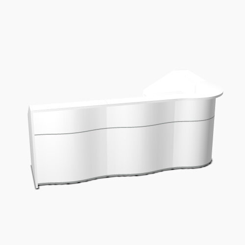 Wave Modern Design L-Shaped Reception Desk with White Counter Top &High Gloss White Front W2780xD1591xH1103mm