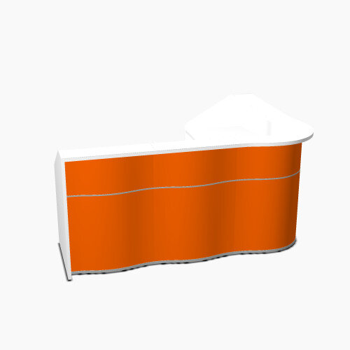 Wave Modern Design L-Shaped Reception Desk with White Counter Top &High Gloss Orange Front W2343xD1813xH1103mm