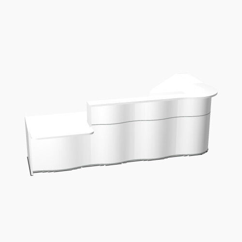 Wave Modern Design L-Shaped Reception Desk White Counter Top with Left Low Level Section &High Gloss White Front W3310xD1807xH1103mm