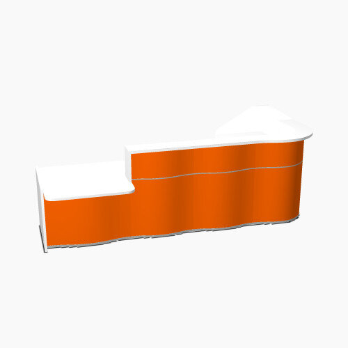 Wave Modern Design L-Shaped Reception Desk White Counter Top with Left Low Level Section &High Gloss Orange Front W3310xD1807xH1103mm