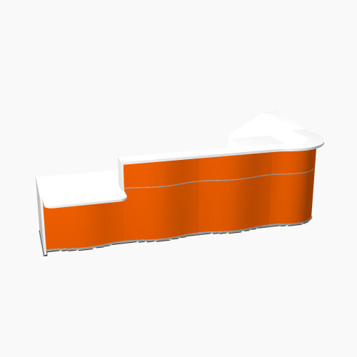 Wave Modern Design L-Shaped Reception Desk White Counter Top with Left Low Level Section &High Gloss Orange Front W3750xD1825xH1103mm