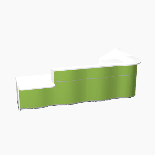 Wave Modern Design L-Shaped Reception Desk White Counter Top with Left Low Level Section &High Gloss Dark Green Front W3750xD1825xH1103mm