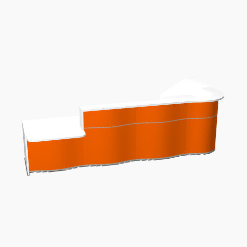 Wave Modern Design L-Shaped Reception Desk White Counter Top with Left Low Level Section &High Gloss Orange Front W3750xD1807xH1103mm