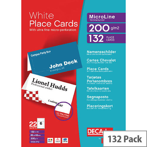 Decadry Perforated White Place Card 132 Pack 85 X 46mm 6 Cards Per A4 Sheet 22 Sheets Per Pack Micro Perforated 200gsm Suitable For Inkjet And Laser Printers Dpocb3713 Hunt Office Uk