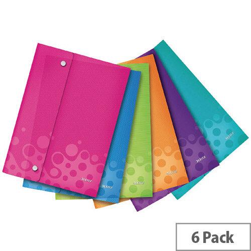 Leitz WOW A4 Polypropylene Wallet Folder Assorted Pack of 6 44690099