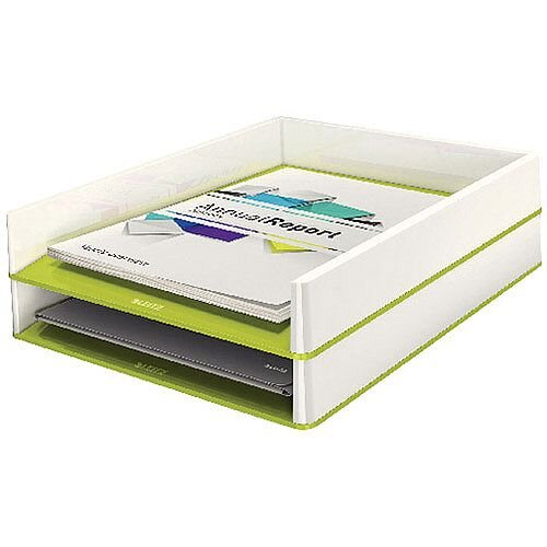 Leitz WOW Letter Tray Dual Colour White/Green 53611064