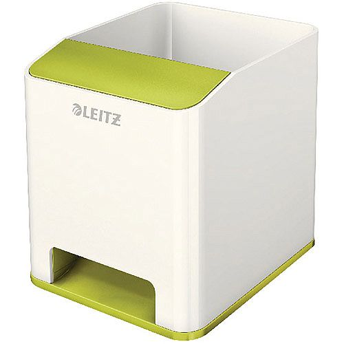 Leitz WOW Sound Booster Pen Holder White/Green 53631064