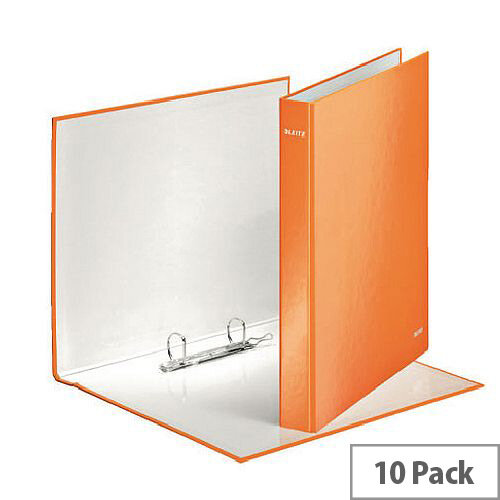 Leitz WOW A4 Plus 25mm 2 D-Ring Binder Orange Pack of 10 42410044