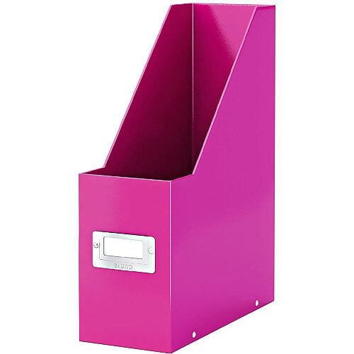 Leitz Click &Store Magazine File Pink (Dimensions: W103 x D253 x H330mm; 103mm spine whitch is laminiated for lasting use; Back and front label holder for easy indexing) 60470023