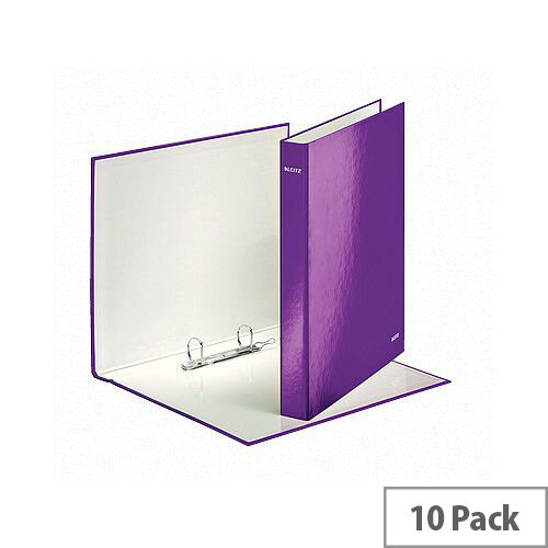 Leitz WOW A4 Plus 25mm 2 D-Ring Binder Purple Pack of 10 42410062