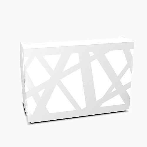 Zig Zag Modern Design Illuminated Solid Surface Straight White Reception Desk W1600mmxD880mmxH1146mm