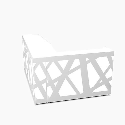 Zig Zag Modern Design Illuminated Solid Surface L-Shaped White Reception Desk W2200mmxD1880mmxH1146mm