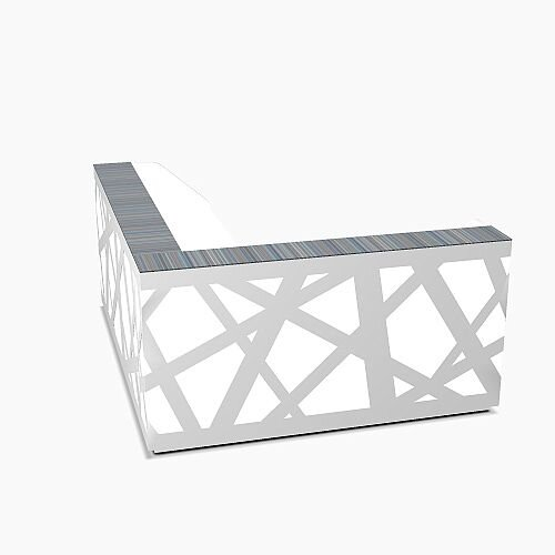 Zig Zag Modern Design Illuminated Solid Surface L-Shaped White Reception Desk W2480mmxD2200mmxH1146mm