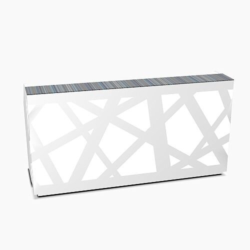 Zig Zag Modern Design Illuminated Solid Surface Straight White Reception Desk W2200mmxD880mmxH1146mm