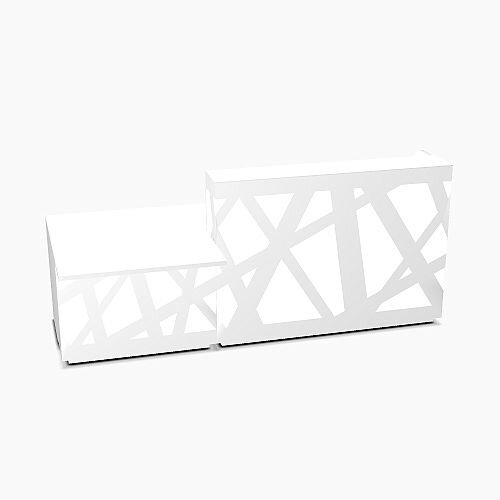Zig Zag Modern Design Illuminated Solid Surface Straight White Reception Desk with Left Low Level Section W2600mmxD1180mmxH1146mm