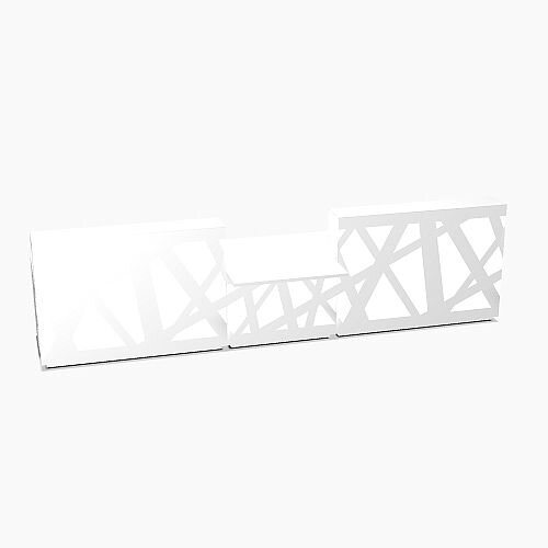 Zig Zag Modern Design Illuminated Solid Surface Straight White Reception Desk with Central Low Level Section W4200mmxD1180mmxH1146mm