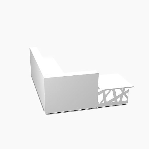 Zig Zag Modern Design Illuminated Solid Surface L-Shaped White Reception Desk with Left Low Level Section W3200mmxD2880mmxH1146mm