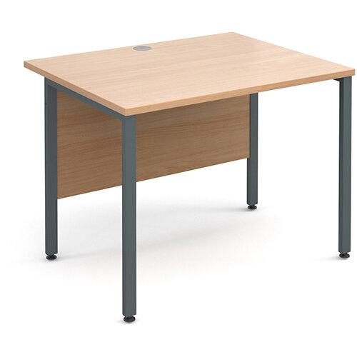Maestro 25 GL straight desk 1000mm x 800mm - graphite H-Frame, beech top