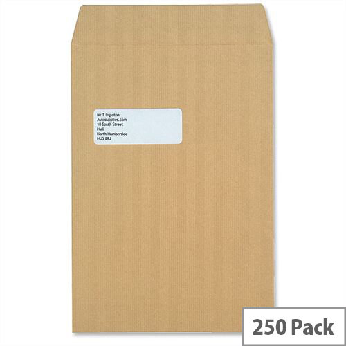 New Guardian Window 130gsm Envelopes C4 Manilla Pocket Press Seal Heavyweight (Pack of 250)