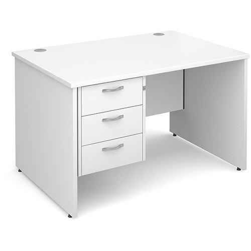 Maestro 25 PL straight desk with 3 drawer pedestal 1200mm - white panel leg design