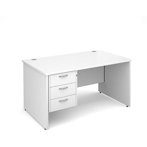 Maestro 25 PL straight desk with 3 drawer pedestal 1400mm - white panel leg design