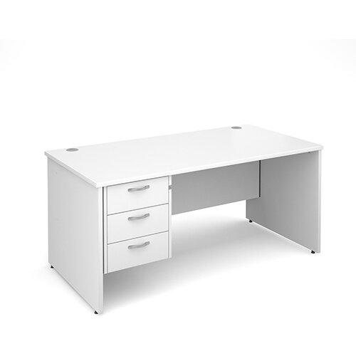 Maestro 25 PL straight desk with 3 drawer pedestal 1600mm - white panel leg design