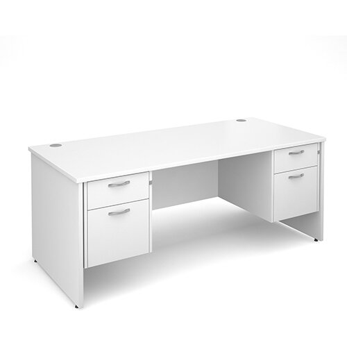 Maestro 25 PL straight desk with 2 and 2 drawer pedestals 1800mm - white panel leg design