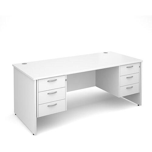 Maestro 25 PL straight desk with 3 and 3 drawer pedestals 1800mm - white panel leg design