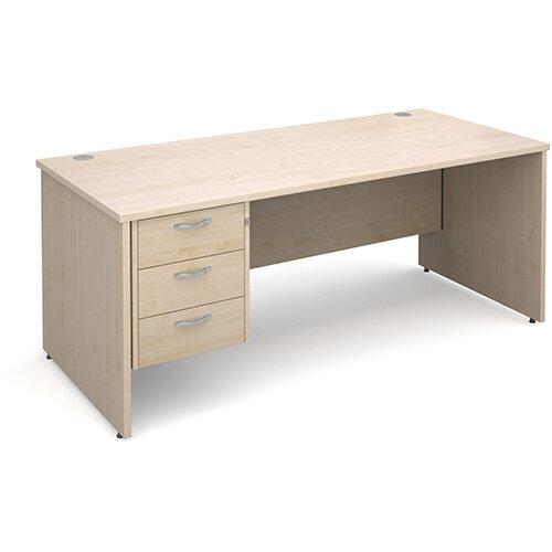 Maestro 25 PL straight desk with 3 drawer pedestal 1800mm - maple panel leg design