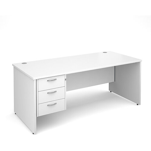 Maestro 25 PL straight desk with 3 drawer pedestal 1800mm - white panel leg design