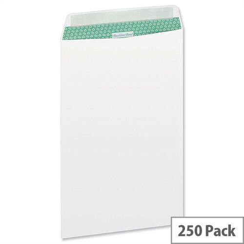 Basildon Bond C4 White 100gsm Envelopes Pocket Peel and Seal Recycled Pack 250 Ref M80120