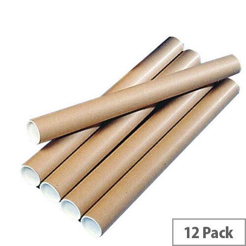 Brown Kraft 450x76mm Cardboard Postal Tubes Pack of 12