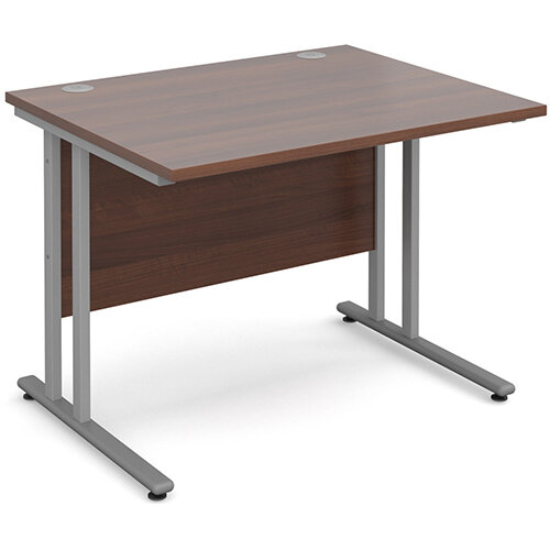 Maestro 25 SL straight desk 1000mm x 800mm - silver cantilever frame, walnut top
