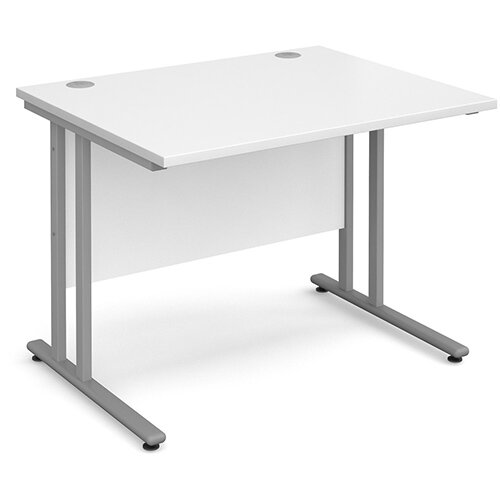 Maestro 25 SL straight desk 1000mm x 800mm - silver cantilever frame, white top