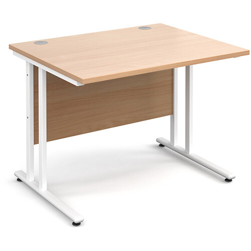 Maestro 25 WL straight desk 1000mm x 800mm - white cantilever frame, beech top