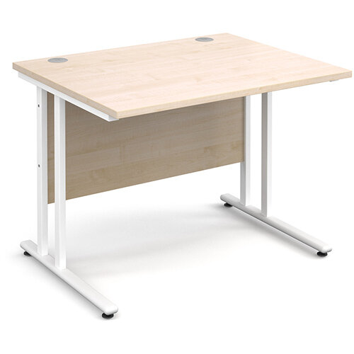 Maestro 25 WL straight desk 1000mm x 800mm - white cantilever frame, maple top