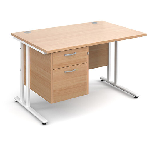 Maestro 25 WL straight desk with 2 drawer pedestal 1200mm - white cantilever frame, beech top