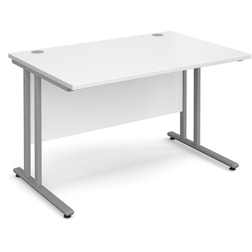 Maestro 25 SL straight desk 1200mm x 800mm - silver cantilever frame, white top