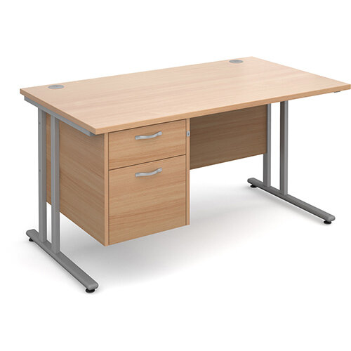 Maestro 25 SL straight desk with 2 drawer pedestal 1400mm - silver cantilever frame, beech top