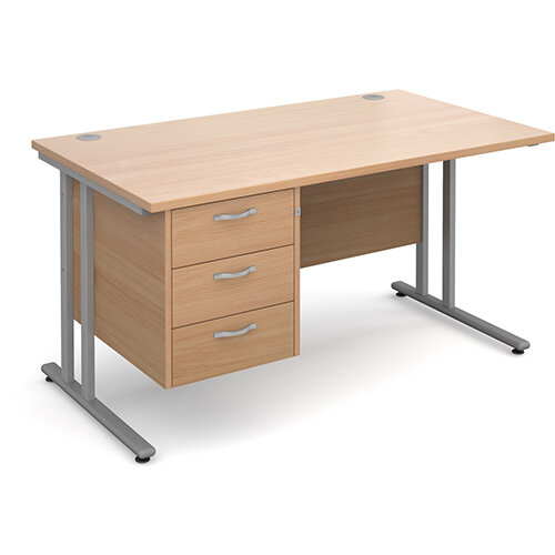 Maestro 25 SL straight desk with 3 drawer pedestal 1400mm - silver cantilever frame, beech top