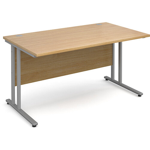 Maestro 25 SL straight desk 1400mm x 800mm - silver cantilever frame, oak top