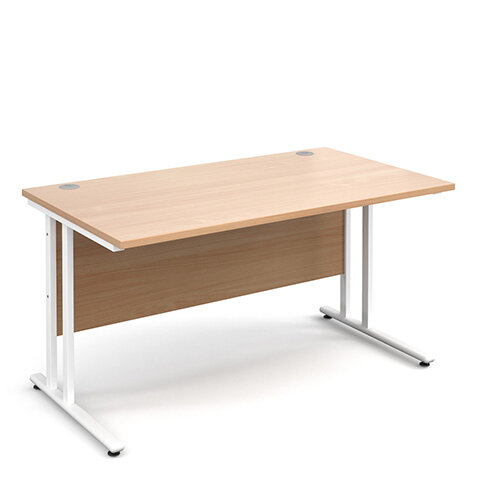 Maestro 25 WL straight desk 1400mm x 800mm - white cantilever frame, beech top