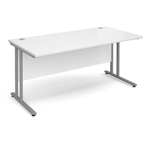 Maestro 25 SL straight desk 1600mm x 800mm - silver cantilever frame, white top